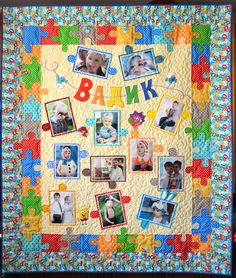 Click to view large image   Picture puzzle quilt.