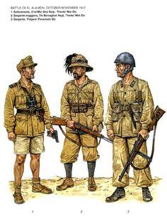 """Regio Esercito, battaglie adi El Alamein, Set. - Nov 1942 - Sottotenente, 21° Rgmt Artiglieria Motorizzata, Divisione di Fanteria Mot. """"Trento"""" - Sergente maggiore, 7° Rgmt Bersaglieri, Div Mot. """"Trento"""" - Sergente, Divisione Paracadutisti """" Folgore"""""""