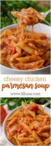 Cheesy Chicken Parmesan Soup - trust me, this recipe will not disappoint! A creamy and delicious tomato-base soup filled with chicken, penne pasta, and of course cheese!!