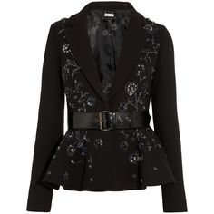 Miu Miu Embellished wool-crepe peplum jacket (€945) ❤ liked on Polyvore featuring outerwear, jackets, coats, coats & jackets, miu miu, black, slim jacket, wool jacket, beaded jacket and slim fit wool jacket