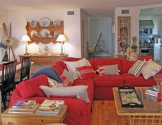 Red Couch Design Ideas, Pictures, Remodel, and Decor beach feel with a red couch.....wonderful