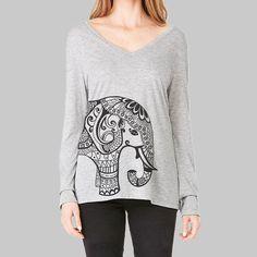Womens Long Sleeve Tshirt  Yoga Elephant by MadMoonClothing
