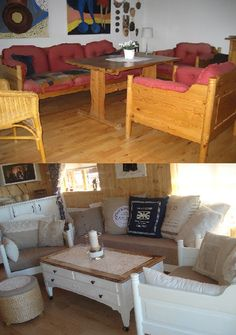 Cool transformation on old and tired sofa - love the new look.and this sofa won't get cat scratched! Refurbished Furniture, Repurposed Furniture, Furniture Makeover, Painted Furniture, Furniture Making, Home Furniture, Furniture Ideas, French Country Decorating, Colorful Furniture
