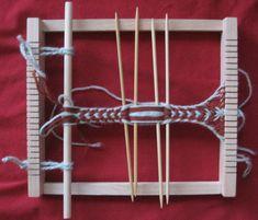 A weaving frame as sprang loom