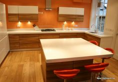 Caesar Stone Blizzard worktops with a mitred built up edge detail