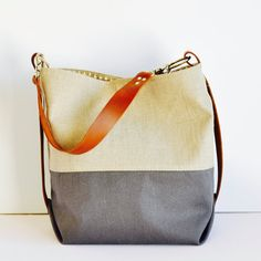 Shoulder Bag - Bucket bag- Canvas & Flax Linen - Diaper bag - large hobo bag - Weekender Bag - summer tote - handmade in Australia