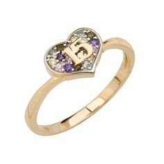 14K Yellow Gold High Polish Pave-Set Multi-Color CZ 15 Anos Quinceanera Heart Design Ladies Fashion Ring