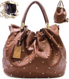 Dotted Faux Leather Satchel in Chocolate Brown.  Stunning Handbag!