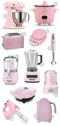 Pink Kitchen Gadgets & Appliances - How to Nest for Less™,Pink Kitchen Appliances! Great for accessorizing a kitchen! Small kitchen appliances that make your everyday activity easi. Pink Kitchen Appliances, Smeg Kitchen, Home Appliances, Domestic Appliances, Baking Appliances, Pink Kitchen Decor, Kitchen Ideas, Kitchen Tools, Pink Kitchen Designs