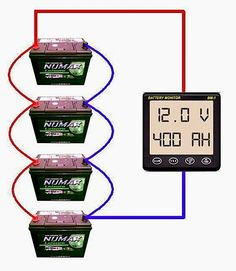 Parallel battery bank wiring diagram - Different Ideas Electrical Projects, Solar Projects, Electrical Wiring, Solar Panel Battery, Lead Acid Battery, Solar Panels For Home, Best Solar Panels, Off Grid Solar, Solar Energy System