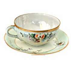 Antique Hand Painted Roses Tea Cup and Saucer Mint Green Gilt