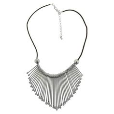 Women's Short Multiple Casted Paddle Bib Necklace - Silver/Black : Target
