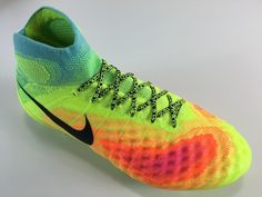 SR4U Neon Yellow/Black Premium Soccer Laces on Nike Magista Obra 2
