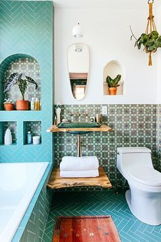 Awesome Overhaul - Justina Blakeney's Jungalow Bathroom Reno With Fireclay Tile - Photos