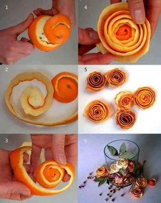 Cómo hacer ramos de rosas con cáscaras de naranja. Ideas para regalar centros de rosas con las mondas de las naranjas de mesa que son más gruesas.