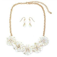 Pearlized Flower Necklace Set via OMNI BOUTIQUE . Click on the image to see more!