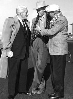 """Spencer Tracy visiting Jimmy Stewart and director Billy Wilder on location for """"The Spirit of St. Louis"""", circa 1956"""