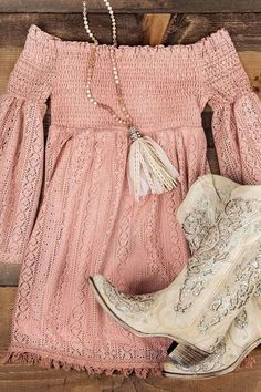 Simple fashion casual gold and apricot heels boots. Casual light apricot and pink off shoulder lace sweet skate dress. Cool trendy chic necklace with tassels and bead for women this summer ootd. 99 Amazing Winter Outfits Ideas For Teens Summer Dress Outfits, Spring Outfits, Dress Casual, Summer Boots Outfit, Country Music Outfits, Country Concert Dress, Cute Country Clothes, Country Concert Outfit Summer, Summer Country Outfits