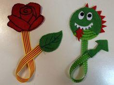 Manualitats per Sant Jordi (con imágenes) Felt Crafts, Easter Crafts, Diy And Crafts, Crafts For Kids, Arts And Crafts, Diy Craft Projects, Projects To Try, Art Of Charm, Felt Bookmark