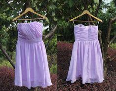 Purple bridesmaid dressstrapless wedding party by loveinprom, $69.00