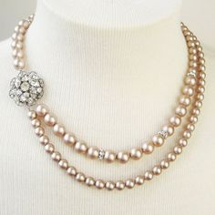Champagne Pearl Bridal Necklace, Champagne Wedding Necklace, Vintage Style Bridal Jewelry, Silver Wedding Jewelry, CELINE. $92.00, via Etsy.