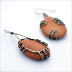 Terra Cotta Beach Pottery Earrings Large Earrings - Erin Austin No Roses Jewelry Artisan Jewelry Los Angeles - 5 Terra Cotta Beach Pottery Earrings Large Earrings - Erin Austin No Roses Jewelry Artisan Jewelry Los Angeles - 5 Rock Jewelry, I Love Jewelry, Glass Jewelry, Stone Jewelry, Metal Jewelry, Beaded Jewelry, Jewelry Making, Stone Earrings, Jewelry Necklaces