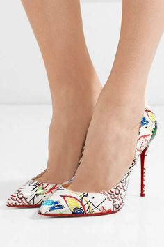 874b4da3c55 Christian Louboutin - Pigalle 100 printed patent-leather pumps