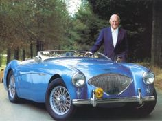 Donald Healey with a classic '56 Austin Healey 100