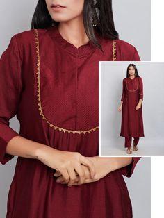 Maroon Embroidered Chanderi Silk Kurta with Modal Cotton Pants Set of 2 Neck Designs For Suits, Sleeves Designs For Dresses, Dress Neck Designs, Blouse Designs, Silk Kurti Designs, Kurta Designs Women, Kurti Designs Party Wear, Pakistani Dresses Casual, Pakistani Dress Design