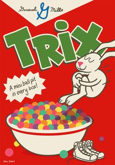 We're celebrating in style, with passionate designers putting their personal twist on the cereal box. Submit your own cereal box design and we might feature it on Hello, Cereal Lovers. phildesignart shows us his version of the Trix Box Phil Jones, Cereal Killer, Snack Box, Childhood Days, Retro Recipes, Candyland, Box Design, Vintage Ads, Animal Crossing