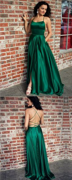 Spaghetti Straps Green Elastic Satin Long Prom Dress, Elegant Satin Evening Dress with Pockets