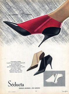 Shoes Seducta (Shoes) 1958 J. Vintage Shoes Women, Vintage Outfits, Vintage Advertisements, Vintage Ads, 1950s Fashion, Vintage Fashion, Sock Shoes, Shoe Boots, Shoe Poster
