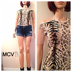 Clearance Vintage 80s leopard club kid  top by MainCourseVintage