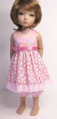 By Raccoon's Rags: Sale 20% Off: Outfit for BJD tinies.  Pink dress and bloomers set for BID. Perfect fit. (Should fit KID too)