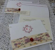 Convite de casamento moderno floral.