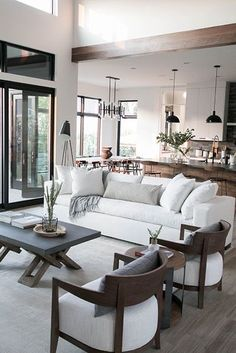 New Living Room, Home Living, Living Room Modern, Interior Design Living Room, Small Living, Kitchen Dining Living, Room Kitchen, Kitchen Interior, Dining Bench