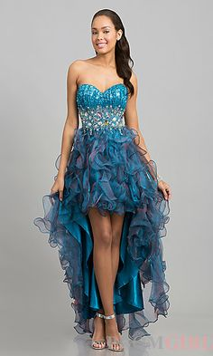 Strapless Ruffled High Low Party Dress at PromGirl.com