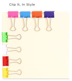 Colorful binder clips! http://www.jampaper.com/OfficeHelpers/BinderClips