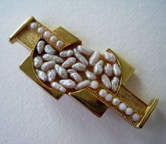Vintage 1989 Art Deco Retro Signed Art Deco Goldtone Faux Pearl Architectural Brooch Pin by ThePaisleyUnicorn, $6.00