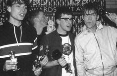 Blur cleaning up at the 1995 Brits. They won Best Single, Best Video, Best Album (Parklife) and Best Group. This came at a time when the Brit-Pop rivalry with Oasis was at its most intense. In hindsight, Blur were obviously the better band - not sure what the argument was...