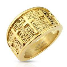 Rings Men's/Women's Lined Crosses Gold Stainless Steel Cast Ring,Size Stainless Steel Casting, Stainless Steel Jewelry, Skull Fashion, Fashion Rings, Jewelry Stores, Band Rings, Jewelry Watches, Rings For Men, Crosses