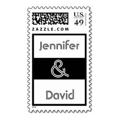 Black and White Wedding Bride and Groom Postage Stamps #wedding #stamps #love #marriage #romance #bride #groom #jaclinart #love #postage #black #white