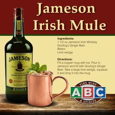 Best jameson irish whisky recipe on pinterest for Jameson mixed drinks recipes