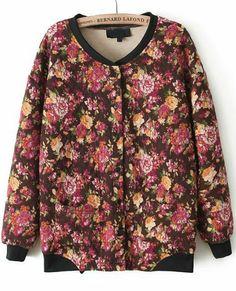 Orange Long Sleeve Floral Parka Jacket S.Kr.217.63