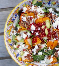 Persimmon, Pear, Pomegranate and Avocado Salad with Walnuts and Feta. Easy to make colorful healthy recipe idea to make for your family. It is a great side or light meal for lunch I Rainbow Delicious