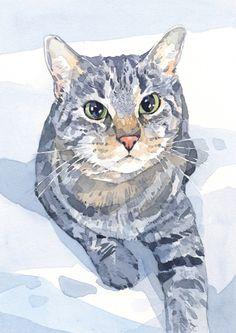 """Cat portrait 5x7"""" watercolor painitng"""