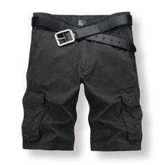2017 7 Colors Casual Men Summer Cargo Shorts Men Knee Length Muti-Pockets Men Shorts Size 28-38