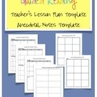 Do you teach guided reading?  Do you need a way to organzine your lesson plans and your anecdotal notes?  My guided reading lesson plan template an...