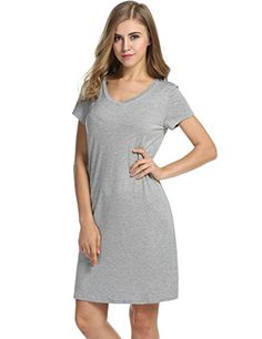 Avidlove Womens Short-Sleeve V-Neck Nightie Sleep Shirt Viscose Sleepwear  Women s Sleepwear d1fc55d2e