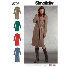 Make a coat for every occasion with any length you desire. You'll always look chic and refined in our Misses'/Miss Petite lined coat. Simplicity s… – Winter Coat Sewing Pattern Storage, Coat Pattern Sewing, Coat Patterns, Jacket Pattern, Clothing Patterns, Print Patterns, Minimal Look, Simplicity Sewing Patterns, Look Chic